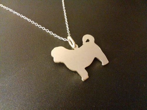 shih tzu dog silhouette pendant sterling silver handmade by saw piercing